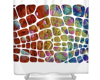 Abstract white multicolored Designer Shower Curtain Art- modern contemporary design, colorful statement bathroom home decor by Susanna
