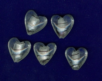 20mm Heart Beads Set 5 with Clear Silver and black lines 0135