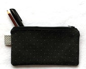 charcoal grey wooly zipper pouch, small unisex travel or school bag, eco-friendly toiletries bag