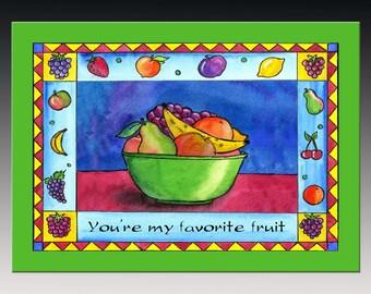 Favorite Fruit Bird Card