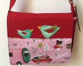 Felt Applique birdy bird small Messenger Bag