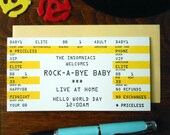 letterpress baby rock concert ticket greeting card rock a bye baby yellow black white