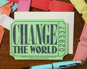 letterpress change the world ticket graduation greeting card blue navy cream raffle carnival ticket