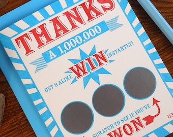 letterpress thanks a million scratch off ticket greeting cards pack of 6 lotto gambling win thank you note gratitude scratch off