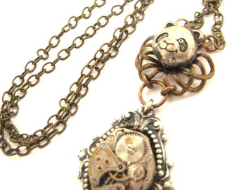 Steamy Panda ... Steampunk Victorian Panda Watch Movement Pendant One of a Kind
