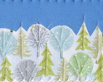 Quilted Fabric Postcard Winter White Snow Landscape Christmas Card Trees Greeting Card