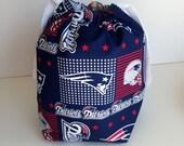 HOLIDAY SALE - New England Patriots Drawstring Knitting Project Bag