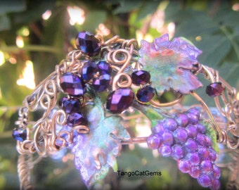 Harvest Grapes Bracelet and Earrings Hand Painted  Crystal Wire Wrap
