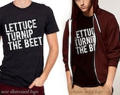 lettuce turnip the beet ® trademark brand OFFICIAL SITE - dark grey heather shirt with 2 logo options