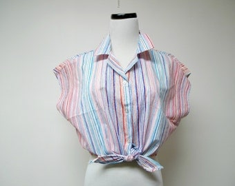 1980s vintage tie waist blouse . colorful stripes . sleeveless . button down . large . made in USA