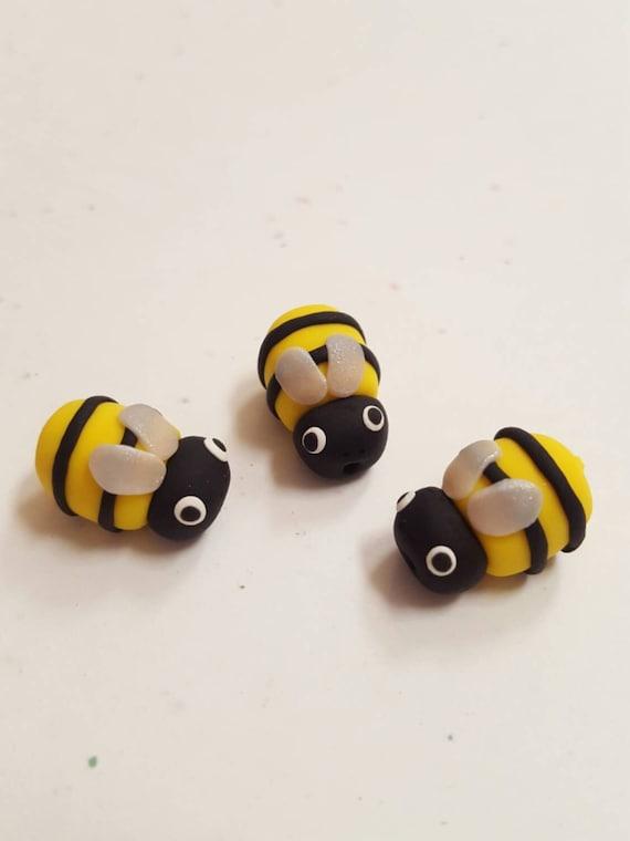 Polymer Clay Bumble Bee Beads Set Of Three 19mm Handmade