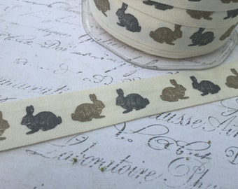 Natural Cotton Canvas 3/4 inch wide printed with Spring Easter Bunnies