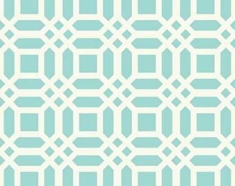 20% Off! Patty Young for Riley Blake FABRIC - Home Decor Canvas - Vivid Lattice - Aqua