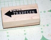 World Traveler Stamp Wood Mounted Rubber Stamp Sentoment Travel Stamp