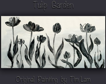 Original abstract flower art Black and White tulip Large Oil painting on gallery wrap canvas Ready to hang by tim Lam 48x24