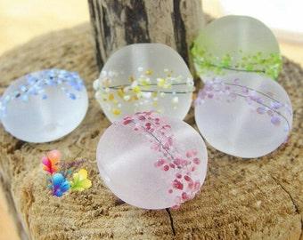 Lampwork Glass Beads Rainbow Blossom per bead