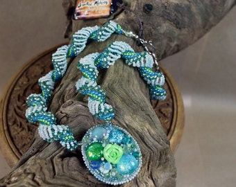 Mermaid Necklace - Boho Lime Necklace - Flower Bud Necklace - Boho Flower Pendant - under the sea party - mermaid outfit - mermaid costume
