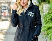 Monogrammed Charles River Women's Logan Jacket - BLACK - Personalized Waterproof Raincoat, Monogram Coats Womens Jackets