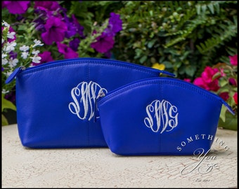 Set of 2 Cobalt Monogrammed Leather Cosmetic Bags - Royal Blue Large and Small Size Personalized Leather makeup case, monogrammed makeup bag