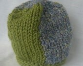 Color Block Green Purple Chunky Knit Hat
