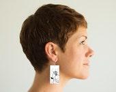 "Roller Skates, Paper & Wood Earrings, 1.25x2.25"""