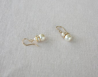 Gold Filled Bridal Earrings Swarovski Crystal Pearl Drop Earrings Wedding Earrings Vintage Inspired