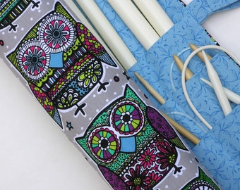 large knitting needle case - fun colorful owls on gray - 36 pockets