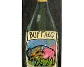 Buffalo Painting - Wine Painting - Original Buffalo Red Table Wine Painting