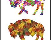 Buffalo Art - Buffalo Four Seasons - Buffalo A City for All Seasons Version 2 - Plak Mounted  Print -  Buffalo NY - Buffalo Gift