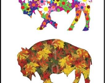 Buffalo Art - Buffalo Four Seasons - Buffalo City for All Seasons Version 2  Plak Mounted Print - Buffalo NY - Buffalo Gift - Buffalo Poster