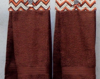 SET of 2 - Hanging Cloth Top Kitchen Hand Towels - BROWN and Orange Chevron Print - BROWN Towels