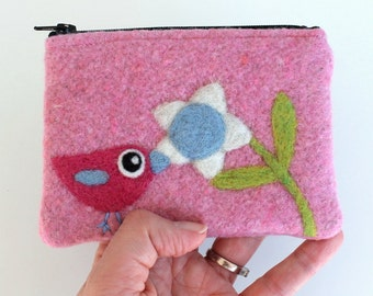 Zippered coin purse pouch purse pin wool fabric with a needle felted fuchsia pink birdie bird flower