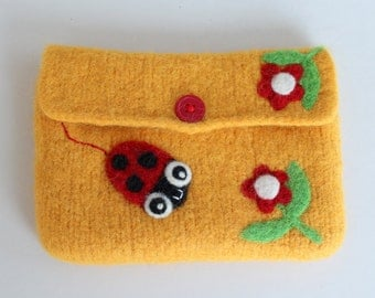 Felted bag pouch purse bag hand knit needle felted yellow wool needle felted ladybug ladybird flowers