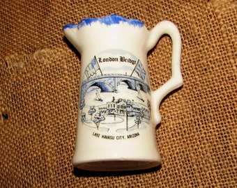Vintage Souvenir London Bridge Pitcher from Lake Havasu City, Arizona, 70s, bridge from England