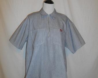 SALE Ben Davis Monkey Brand Front Zip Collar Blue White Stripe Shirt Mens