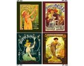 VP 181-184 Vintage Poster Art - One 8x10 or Two 5x7s - Art Nouveau Lady, Absinthe Robette, Bieres de la Meuse, Absinthe Blanqui, Champagne