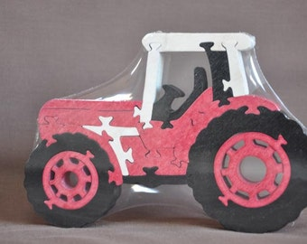 Red Farm Tractor International Wooden Toy Puzzle Hand Cut