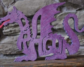 Fantasy Purple  Dragon Wood Puzzle Hand Cut with Scroll Saw Toy