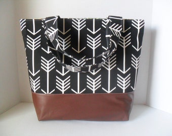 Black Arrow Tote Diaper Bag - Diaper Bag - Arrow Bag - Laptop Bag - Extra Large Diaper Bag -  Beach Bag - Washable - Vegan Leather