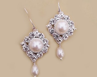 Wedding Jewelry Bridal Earrings, Pearl Earrings Bridal, Wedding Earrings Teardrop, Crystal Pearl Earrings Bridesmaids Ivory Bridal Jewelry