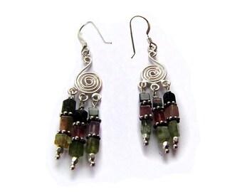 Tourmaline Earrings - Silver Spiral Chandelier Earrings