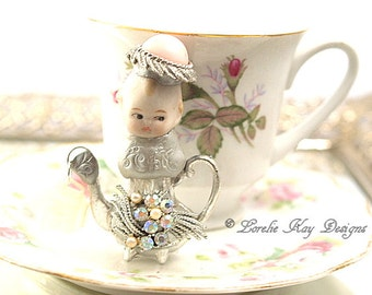 Sassy Tiny Teapot Art Doll  Original Art Doll Assemblage Tiny Teapot Mixed Media Doll Sculpture