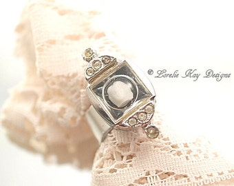 Frozen Charlotte Ring Watch  Tiny Doll Head Ring Silver Plate One-of-a-Kind Wearable Doll Ring
