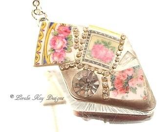 Rhinestone & Roses Necklace Broken China Mosaic Pendant Sweet Pink Roses Lorelie Kay Original