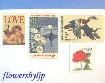 Arizona 2017 Wedding Postage, Love Cherub Blooming Cactus Red Rose Ducks, Mail 20 Invitations 2 oz 70 cents postage, desert stamps red blue