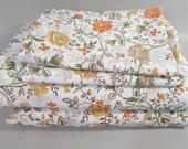 Vintage king sheets, king sheet set, orange and yellow floral pattern, prairie flower print