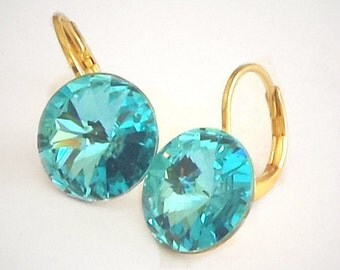 12mm Rivoli Swarovski Crystal leverback drop earrings light blue turquoise,yellow gold plated