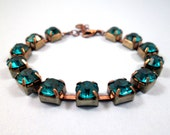 RESERVED for Elise ONLY - Rhinestone Bracelet, Teal Glass Rhinestone and Brass Beaded Bracelet, FREE Shipping U.S.