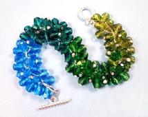Silver Cha Cha Bracelet, Blue Green Watercolor Bracelet, Glass Beaded Bracelet, FREE Shipping U.S.