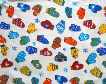 Flannel Mitten Fabric, Winter Fabric, Flannel Cotton Fabric by The Yard